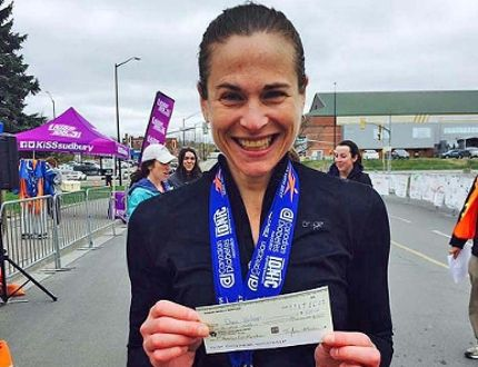 Dana Wilson shows off her winnings from the 2017 Sudbury Rocks Marathon. Photo supplied