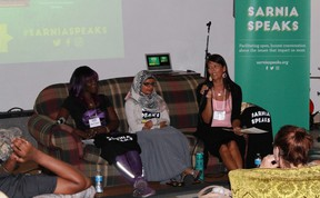 Sarnia Speaks panellists Terri Lynn Sullivan, Aruba Mahmud and Jill Joseph speak about diversity, discrimination and racism at The Story on July 26. CARL HNATYSHYN/SARNIA THIS WEEK