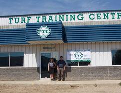 MADELEINE CUMMINGS Edmonton Examiner - Natasha Labelle and Paul Morigeau stand outside Turf Training Centre's entrance last week.