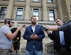 Alberta MLA Derek Fildebrandt announces he will not be running for UCP leadership in Calgary on Tuesday August 8, 2017 outside the McDougall Centre. (Leah Hennel/Postmedia Network)