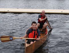 Colin and Kaeden Ward at the Canoe Marathon, celebrate the Sudbury Fitness Challenge. Photo supplied