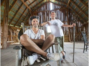 Rolf Klausener, left, artistic director of the Arboretum Music Festival with Matt Vandenburg, owner of Rideau Pines Farm, new home of the Arboretum Music Festival, which takes place this weekend. WAYNE CUDDINGTON / POSTMEDIA