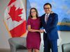 Foreign Minister Chrystia Freeland, left, greets Mexico Secretary of the Economy Ildefonso Guajardo Villarreal, at the Embassy of Canadian in Washington, Tuesday, Aug. 15, 2017. (AP Photo/Manuel Balce Ceneta)