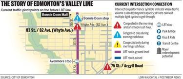 Edmonton's Valley Line LRT map.