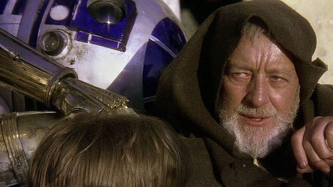 """Alec Guinness as Obi-Wan Kenobi in """"Star Wars."""" (Screenshot)"""