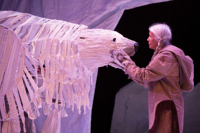 Bruce Hunter (left) as Angu'juaq and Jani Lauzon as Huumittuq in The Breathing Hole. (Cylia von Tiedemann, Stratford Festival)
