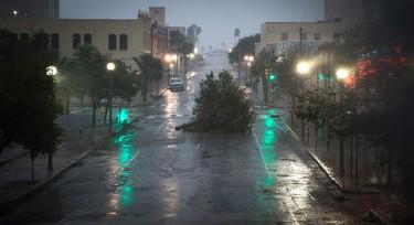A tree blocks a street as Hurricane Harvey makes landfall in Corpus Christi, Texas, on Friday, Aug. 25, 2017. (Nick Wagner/Austin American-Statesman via AP)