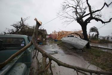 Hurricane Harvey damage is seen in Bayside, Texas,  Aug. 26, 2017. (DANIEL KRAMER/AFP/Getty Images)
