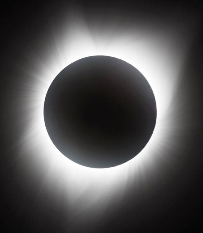 "Sun's ""secret"" corona is only seen during a total solar eclipse along a narrow path on Earth. Photo by John Hlynialuk Aug 21, 2017 taken near Grand Island Nebraska."