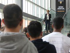 Christine McWebb, University of Waterloo Stratford campus' academic director, talks to students during orientation day Tuesday, Sept. 5. (JONATHAN JUHA, Beacon Herald)
