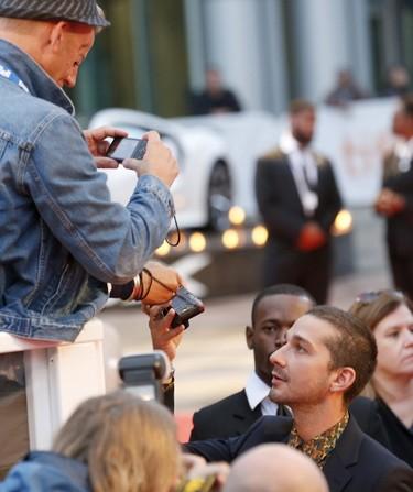 Actor Shia LaBeouf at the red carpet for the film Borg/McEnroe at Roy Thomson Hall during the Toronto International Film Festival in Toronto on Thursday September 7, 2017. Michael Peake/Toronto Sun/Postmedia Network