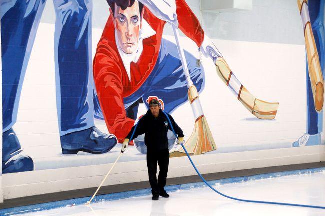Jordan Parker/Daily Herald-Tribune Rink technician Roger Miskolczi floods the ice on Friday September 8 at the Grande Prairie Curling Centre in Grande Prairie.