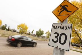 A playground speed zone sign is seen at Nottingham Park in Sherwood Park, Alberta on Tuesday, September 12, 2017. Ian Kucerak / Postmedia