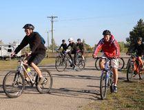 Bikers take off the from the starting point of Eden Foundation's Head for the Hills fundraiser on Sept. 9, 2017. (LAUREN MACGILL, Winkler Times)