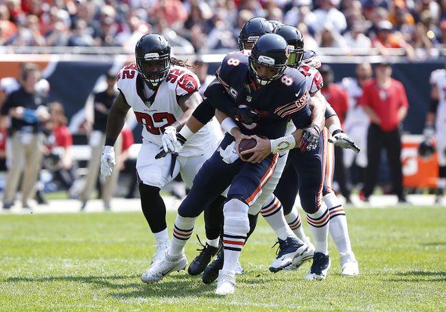 Vic Beasley of the Atlanta Falcons sacks quarterback Mike Glennon of the Chicago Bears in the first quarter at Soldier Field on Sept. 10, 2017. (Kena Krutsinger/Getty Images)