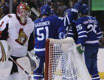 Toronto Maple Leafs left winger James van Riemsdyk scores the second goal of the game in Toronto on Sept. 19, 2017. (Veronica Henri/Toronto Sun/Postmedia Network)