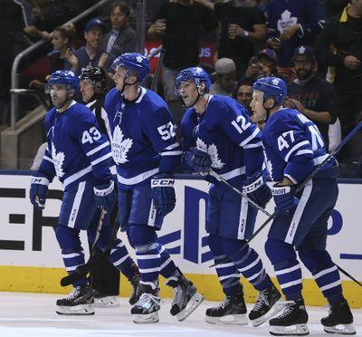 Patrick Marleau of the Toronto Maple Leafs scores the first goal of the game in Toronto on Tuesday September 19, 2017. The Toronto Maple Leafs host the Ottawa Senators in preseason action. Veronica Henri/Toronto Sun/Postmedia Network