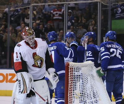 Toronto Maple Leafs left wing James van Riemsdyk (25) scores the second  goal of the game in Toronto on Tuesday September 19, 2017. The Toronto Maple Leafs host the Ottawa Senators in preseason action. Veronica Henri/Toronto Sun/Postmedia Network ORG XMIT: POS1709191943245329