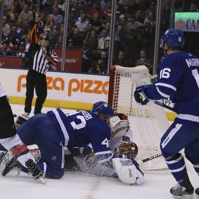 Toronto Maple Leafs center Nazem Kadri (43) gets a penalty  in Toronto on Tuesday September 19, 2017. The Toronto Maple Leafs host the Ottawa Senators in preseason action. Veronica Henri/Toronto Sun/Postmedia Network