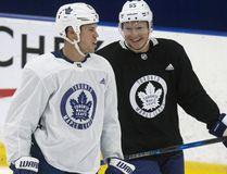 Matt Martin and Andreas Borgman have some fun at Toronto Maple Leafs practice in Toronto on Oct. 2, 2017. (Craig Robertson/Toronto Sun/Postmedia Network)