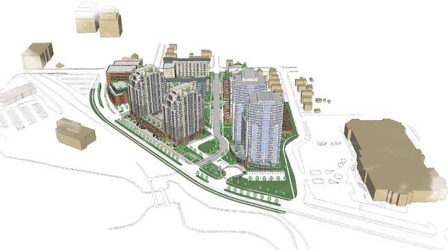 An artist's rendering of the $250-million Barrel Yards development in downtown Waterloo built by London's Auburn Developments.