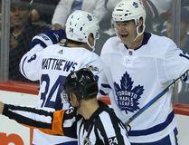 Toronto Maple Leafs forward Patrick Marleau with Auston Matthews celebrates a goal against the Winnipeg Jets at Bell MTS Place on Oct. 4, 2017. (Kevin King/Winnipeg Sun/Postmedia Network)