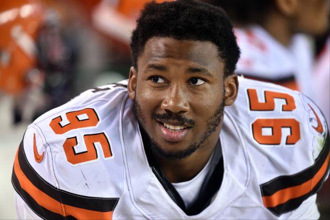 Browns defensive end Myles Garrett will make his NFL debut on Sunday. (David Richard/AP Photo/Files)