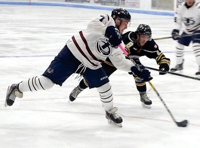 Tillsonburg Hurricanes' Kyran Karol scores against Windsor Sunday night in an 8-4 GMHL win at the Kinsmen Memorial Arena. (Chris Abbott/Tillsonburg News)