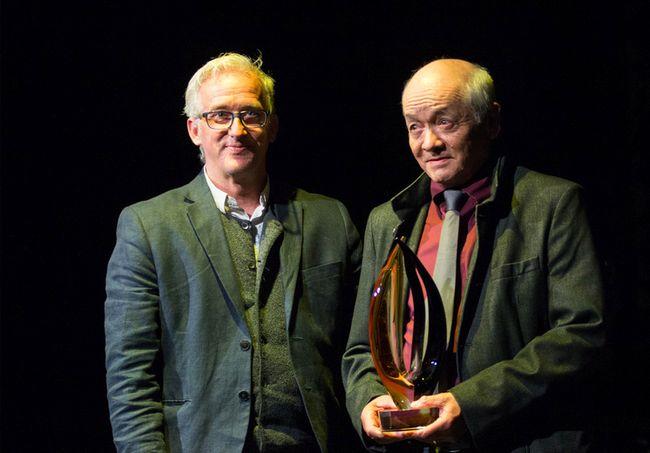 Ray Gauthier (right) holds his lifetime achievement award next to Don Engerdahl. (John Hopkins-Hill/ Hinton Parklander)