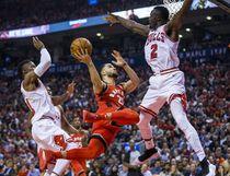 Toronto Raptors' Fred VanVleet during NBA action against the Chicago Bulls Jerian Grant (right) at the Air Canada Centre in Toronto on Oct. 19, 2017. (Ernest Doroszuk/Toronto Sun/Postmedia Network)