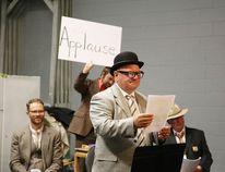 Greater Sudbury Mayor Brian Bigger and cast rehearse a scene from The Case of the Missing Mayor on Sunday. (Gino Donato/Sudbury Star)