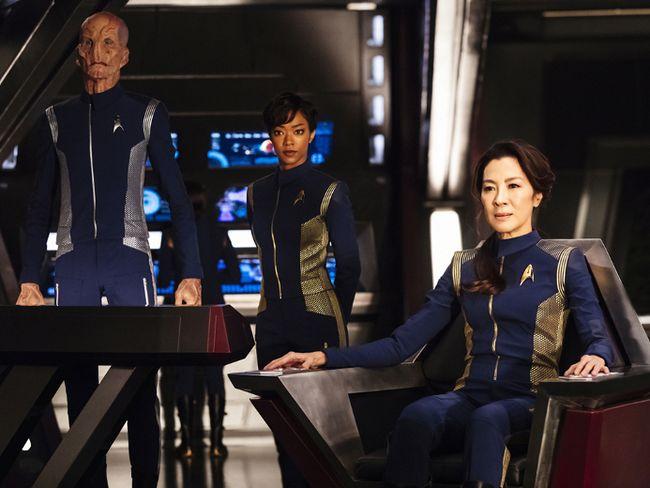 Pictured (l-r): Doug Jones as Lieutenant Saru; Sonequa Martin-Green as First Officer Michael Burnham; Michelle Yeoh as Captain Philippa Georgiou. (CBS Interactive Photo)