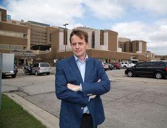 Jeff Yurek MPP for Elgin-Middlesex-London in front of the Victoria Hospital in London. (DEREK RUTTAN, The London Free Press)