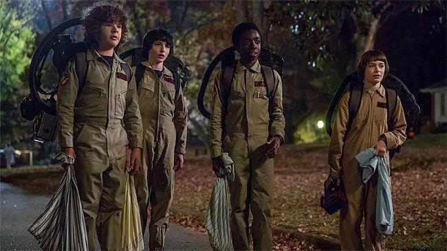 "Gaten Matarazzo, Finn Wolfhard, Caleb McLaughlin and Noah Schnapp in ""Stranger Things."" (Supplied)"
