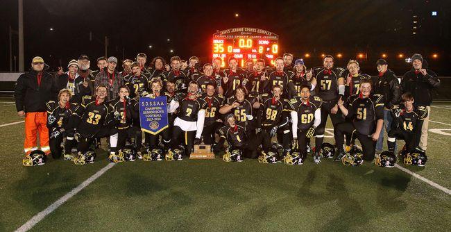 The Lively Hawks celebrate their 2017 SDSSAA senior boys football championship at James Jeromes Sports Complex on Monday, Oct. 30, 2017. Gino Donato/The Sudbury Star/Postmedia Network