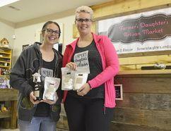 Erin Waller-Burnett and Maura Dobie at the new Farmer's Daughter Artisan Market in Glencoe earlier this year. (Louis Pin/Times-Journal)