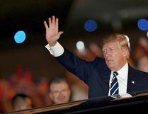 U.S. President Donald Trump waves as he arrives at the Noi Bai International Airport in Hanoi, Vietnam, on Saturday, Nov. 11, 2017. (Minh Hoang/AP Photo)
