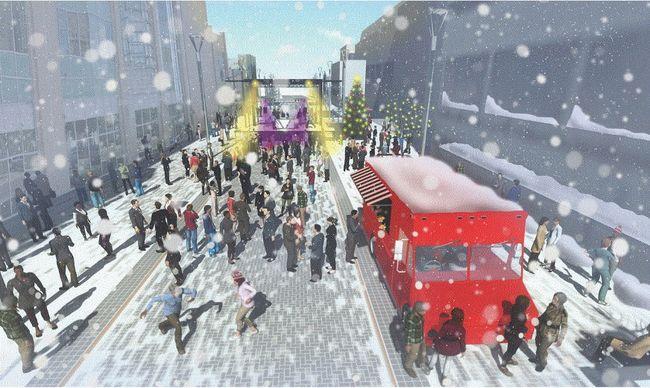 An artist's rendering of a winter concert on Dundas Place, Talbot Street to Ridout Street outside of Budweiser Gardens.