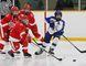 Atom Thususka, right, of the AAA Sudbury Wolves minor peewee team, passes to a teammate during hockey action against the Northside Toyota Soo Junior Greyhounds at Carmichael Arena in Sudbury, Ont. on Saturday November 18, 2017. John Lappa/Sudbury Star/Postmedia Network