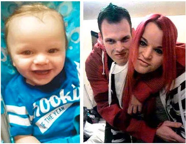 Ryker Daponte-Michaud and his mother, Amanda Dumont, 30, and her partner, Scott Bakker, 27.