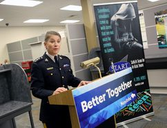 RCMP East District Commander Supt. Joanne Keeping speaks about the S.T.A.R.T. program. (Brook Jones/Selkirk Journal/Postmedia Network)