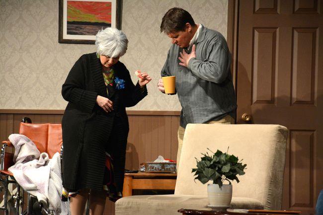 Actors Sheri England (left) and Brian Munday do a gag at the Whitecourt Community Centre on Nov. 25 (Peter Shokeir | Whitecourt Star).