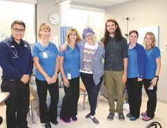 From left: Oncologist Dr. Bryan Lee, RN Sherrie Hawkins, RN Yvonne McLaren, Lori Konst, Lori's son Luke MacDonald, RN Melanie Scott and RN Amy Welsh.
