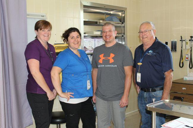 From left: Registered Clerk - Stacey Dempsey, RN Shona Kroeker, grateful patient Eli Harrod and volunteer Barry Kelley at The Willett, Paris.