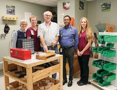 From left: Physiatrist Dr. Catherine Ballyk, OT Julie Clark, grateful patient Bob Ross, Hospitalist Dr. Fikre Germa and OT Brooke Stewart.