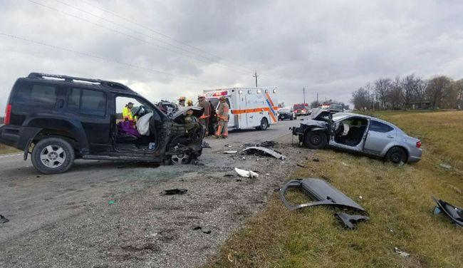 Three people were taken to hospital following a two-vehicle crash on Rainham Road near Cayuga on Wednesday morning (Dec. 6, 2017). OPP photo