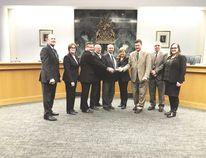 The City of Leduc's executive team received the Alberta Urban Municipalities Association's Dedicated Team Award. AUMA representatives presented the award at a council meeting Dec. 4.