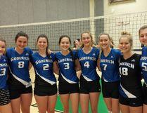 GDCI senior volleyball team. (L-R): Hannah Lindahl, Hayley Johnston, Miranda Millian, Rylee Smith, Kylie Krol, Jessica Millian, Natalie Hill and Josephine Noel. (Contributed photo)