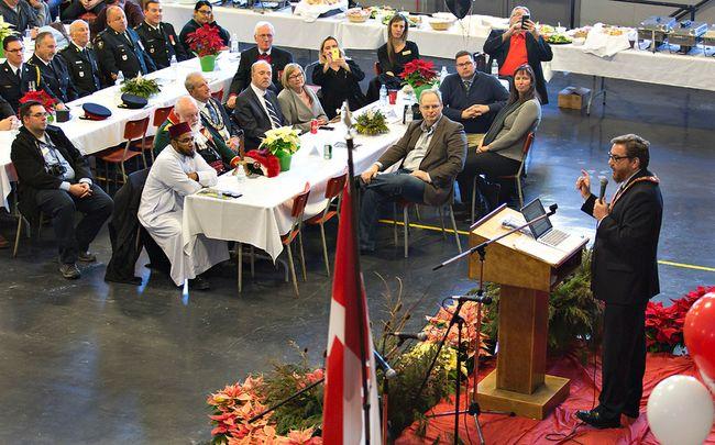 Brantford mayor Chris Friel speaks on Saturday January 6, 2018 during the annual mayor's levee held at the Armouries in downtown Brantford, Ontario. Brian Thompson/Brantford Expositor/Postmedia Network