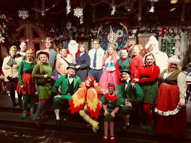 The cast and crew of I.C.E.—A Politically Correct Holiday, The Grande Parlour's Christmas show.